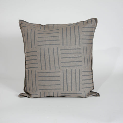 'Hatch' Block Printed Linen Accent Pillow Cover