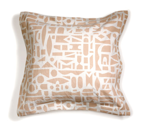 'Mixta' Deep Flange Block Printed Linen Accent Pillow Cover