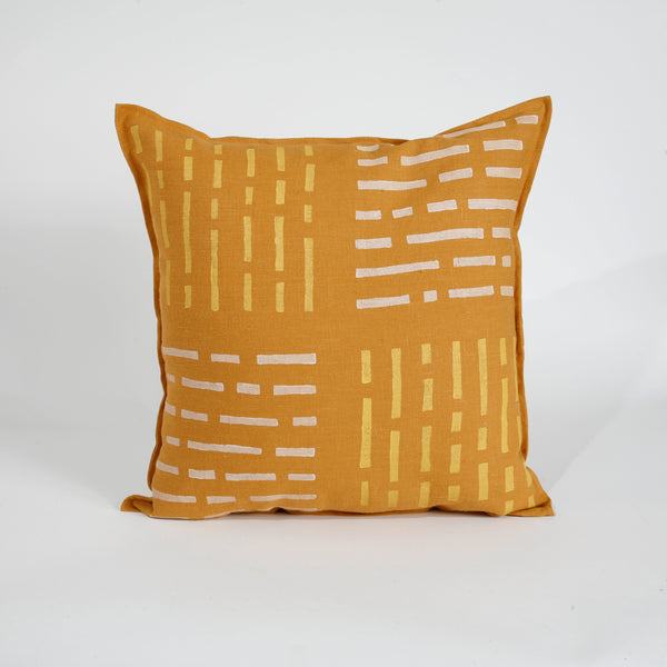 'Over-Under' Block Printed Linen Accent Pillow