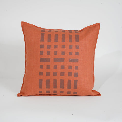Weave' Block Printed Linen Accent Pillow
