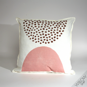 'Pods' Block Printed Linen Accent Pillow in Nutmeg/Petal colorway