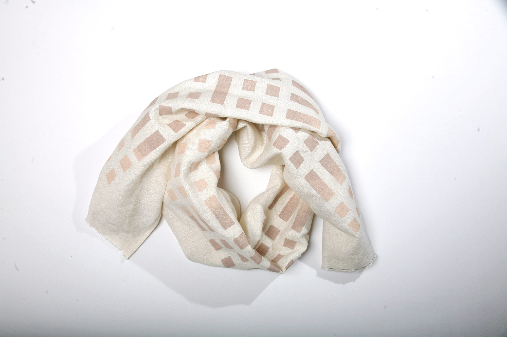 'Weave' Block Printed Just-Right Scarf in Ivory Colorway