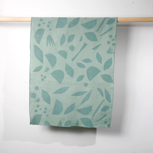'Decon Floral' Block Printed Linen Tea Towel in Seaglass colorway