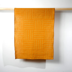 'Hatch' Block Printed Linen Tea Towel in Sunshine Colorway