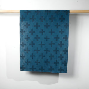 'Plus' Block Printed Linen Tea Towel in Blues colorway