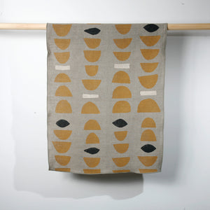 'Stacks' Block Printed Linen Tea Towel Ochre colorway