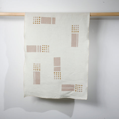 'Tiles' Block Printed Linen Tea Towel in Summer Colorway