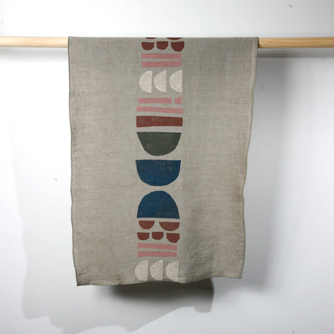'Totem' Block Printed Linen Tea Towel in Pacific Northwest Colorway