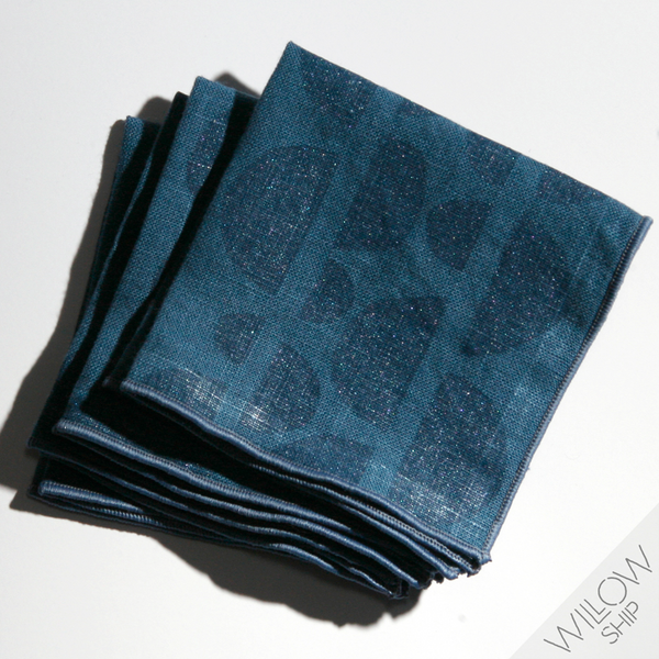 'Half Moons' Block Printed Linen Cocktail Napkins in Blues colorway