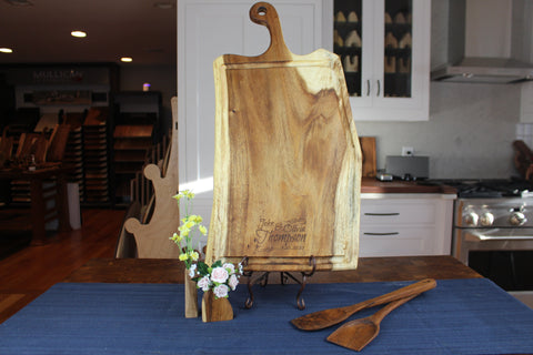 Extra Large Live Edge Cutting Board with Juice Groove and Wedding Engraving