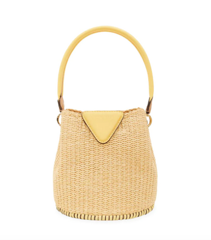 This Raffia Woven Bucket Bag Combines Two of Spring's Hottest Bag Trends