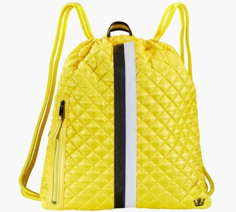 An upscale reimagining of the cinch drawstring backpack