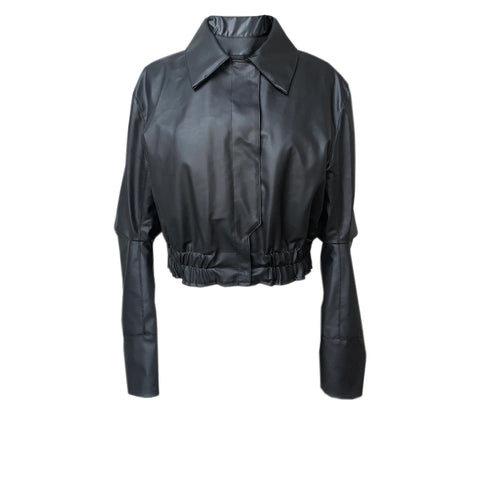 A Cropped Jacket from House of Fluff made with Cactus Leather