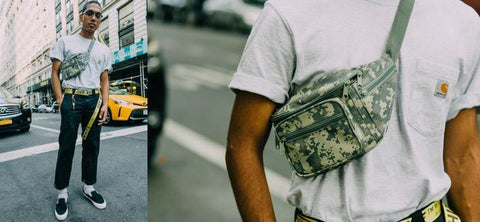 Styling the fanny pack around the shoulders breathes new life into the look.