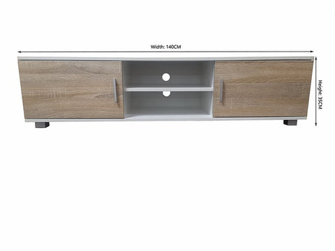 White + Oak Colour TV Unit/ Cabinet /TV Stand - Brand New - EH4031