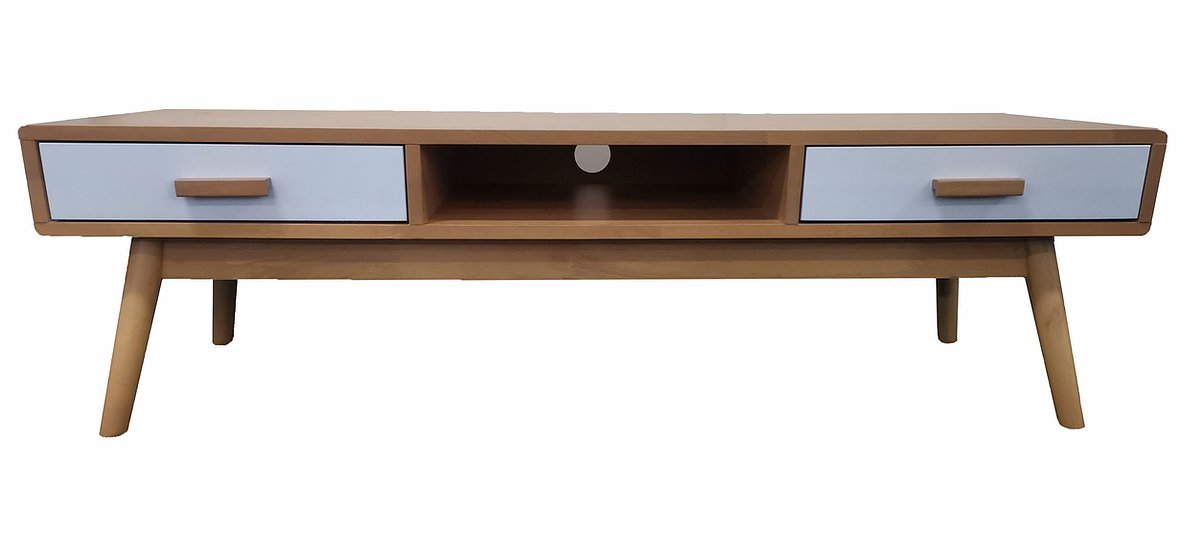 Beech Colour +White Drawer Solid Wood TV Unit