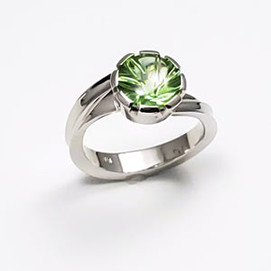 Spiral Cut Peridot Ring
