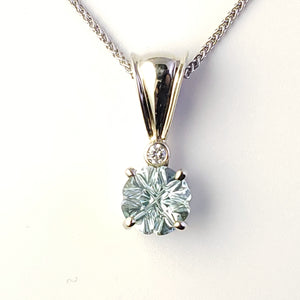 14kt White Gold Medicine Wheel Aquamarine cut by Larry Woods jewelry by Stacia Woods