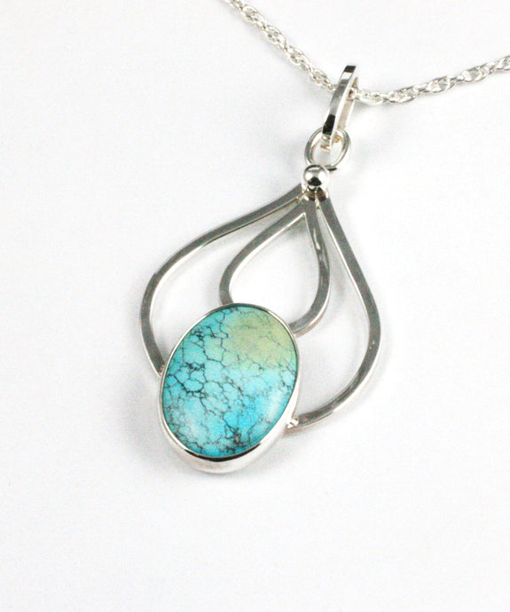 Sterling Silver Chinese Turquoise Pendant