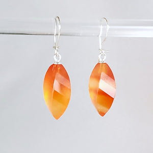 Carnelian Twist Drop Earrings