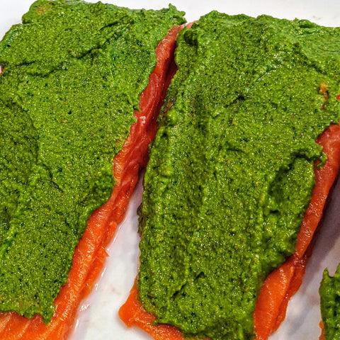 salmon with walnut and kale pesto