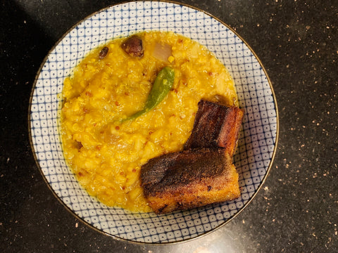 Khicuri with masoor daal and quinoa