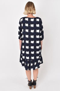 PQ COLLECTION - Flare Dress - NAVY CHECK
