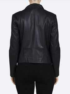 JUMP - Classic Black Leather Jacket - Size 14