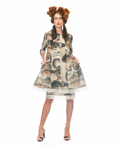 MEGAN SALMON - Mosaic Fish Giselle Coat - NATURAL WORLD
