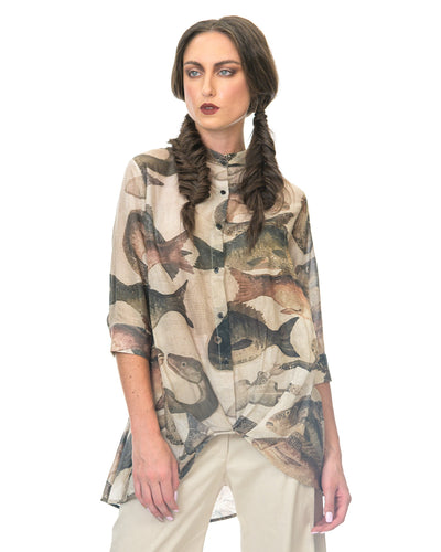 MEGAN SALMON - Mosaic Fish Origami Shirt - NATURAL WORLD