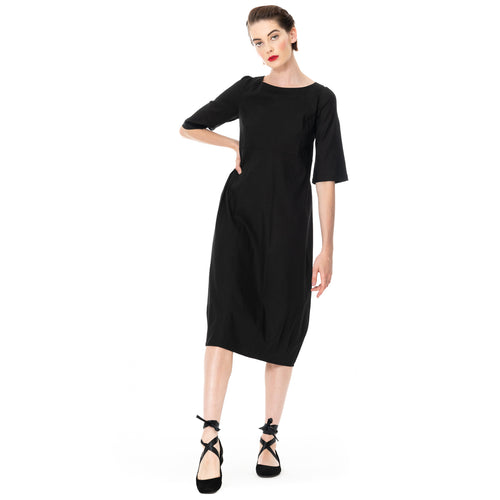 MEGAN SALMON - Linen Romance Dress - BLACK