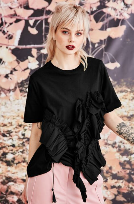 Trelise Cooper COUTURE - Frilled With Joy T-Shirt - BLACK