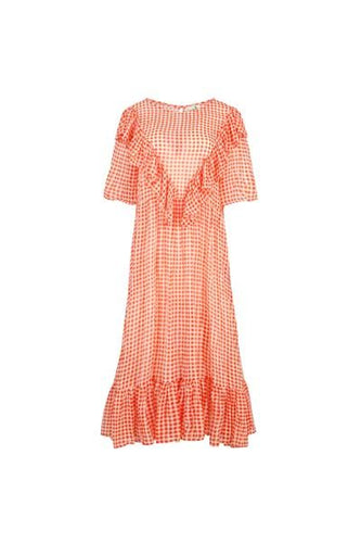 CURATE by Trelise Cooper - Sheer Love Dress - ORANGE CHECK