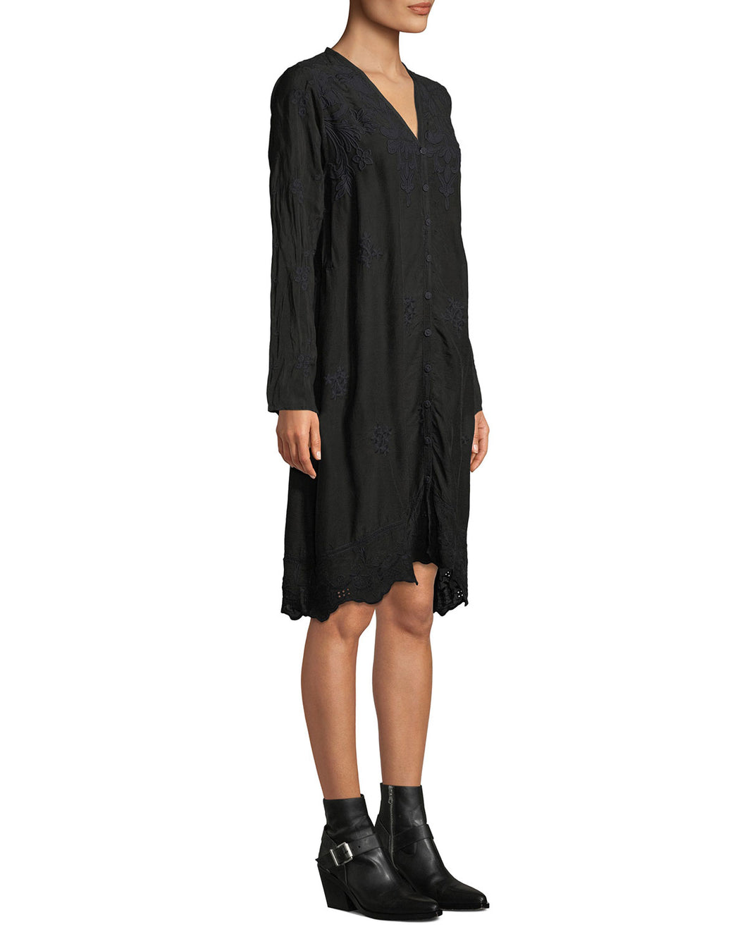 JOHNNY WAS - Frinna Waist Tie Dress - BLACK