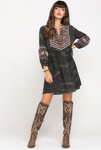 JOHNNY WAS - Molly Jo Paris Silk Camo Dress
