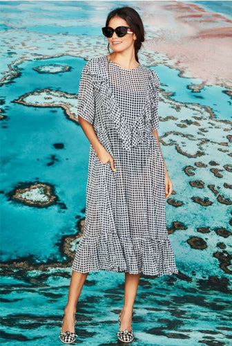 CURATE by Trelise Cooper - Sheer Love Dress - NAVY CHECK