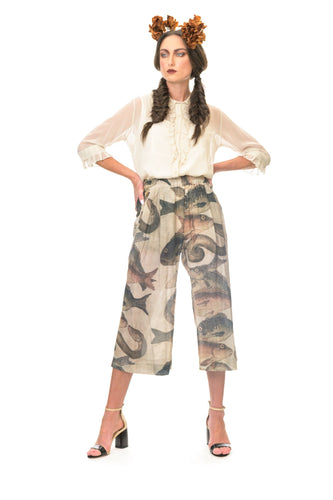 MEGAN SALMON - Mosaic Fish 7/8 Loose Wide Leg Pant - NATURAL WORLD