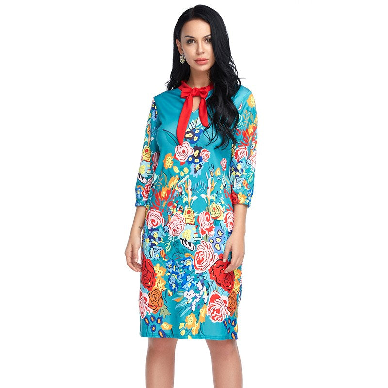 Women Summer Vintage Dress Plus Size Floral Chinese Style Print Long