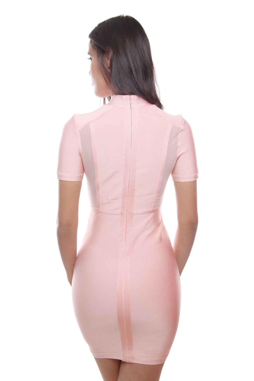 Naomie Pink Open Front With Mesh Bandage Dress