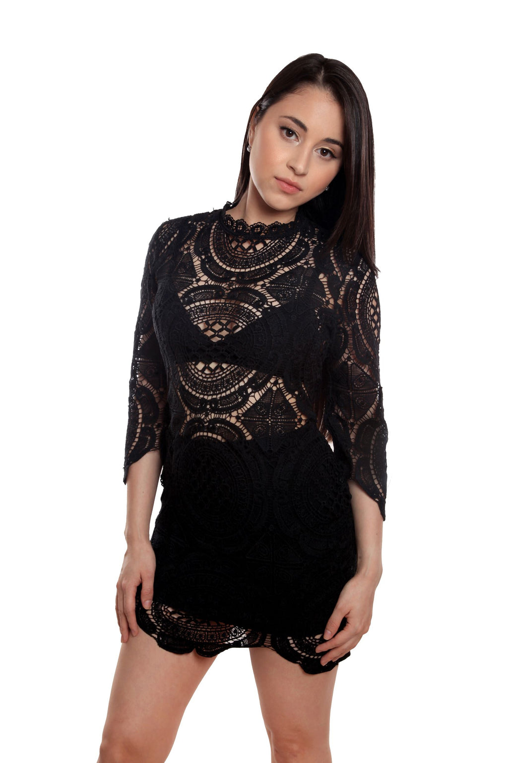 Gina Two Piece Black Cotton Lace Bandage Dress