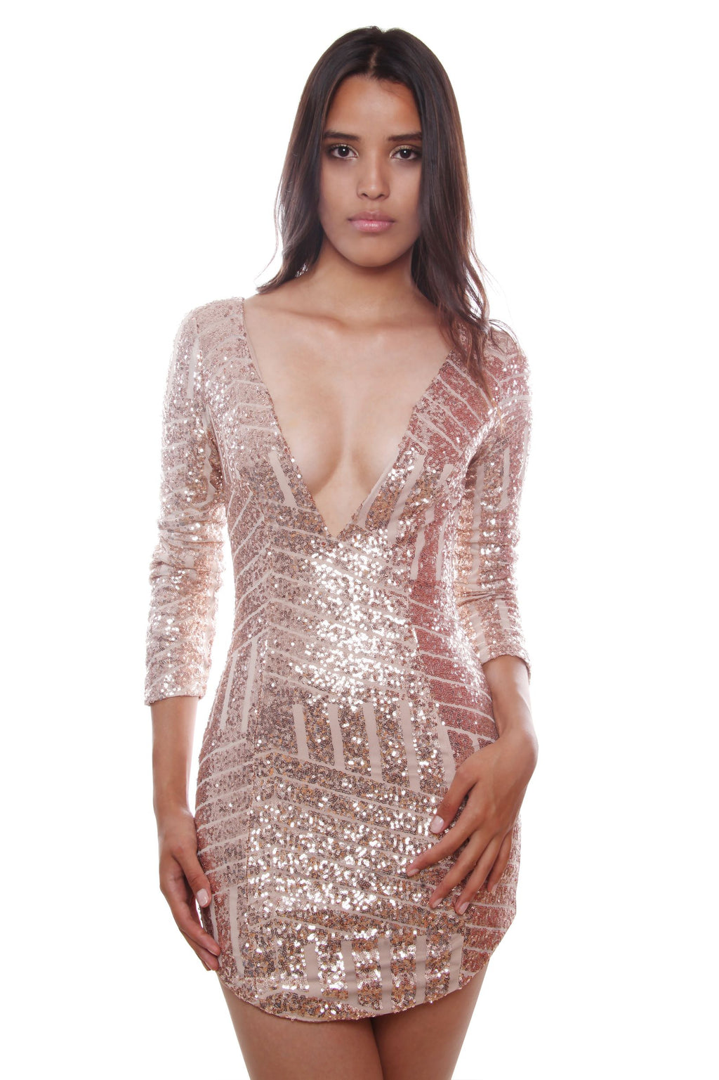 Brenda Gold Deep V Front Sequin Dress