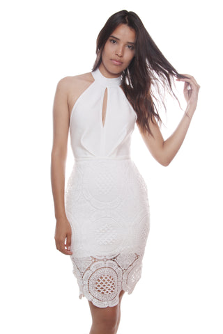 Adela White Beaded Cage Bandage Dress