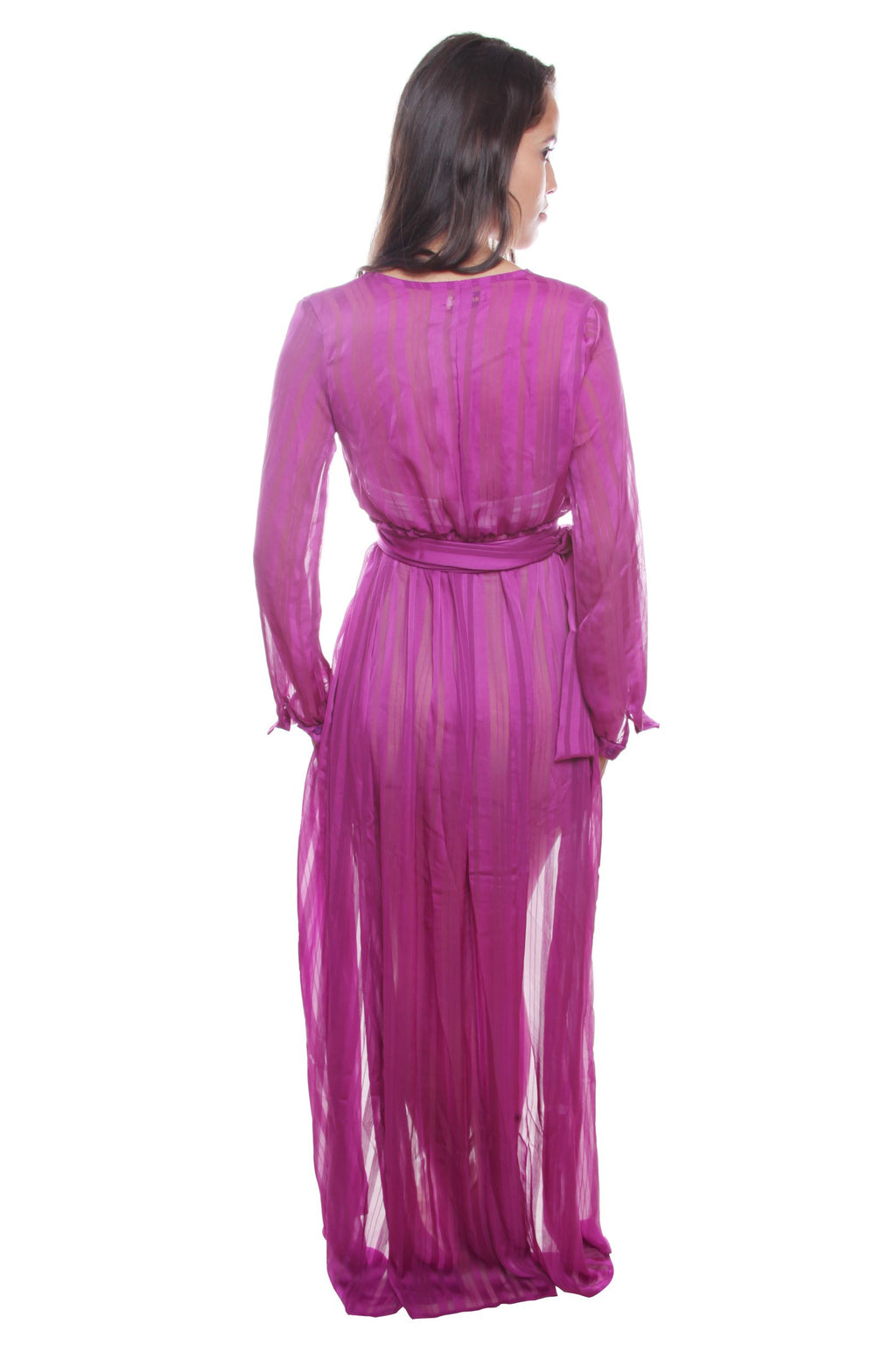 Sofia Purple Long Sleeve Chiffon Maxi Dress
