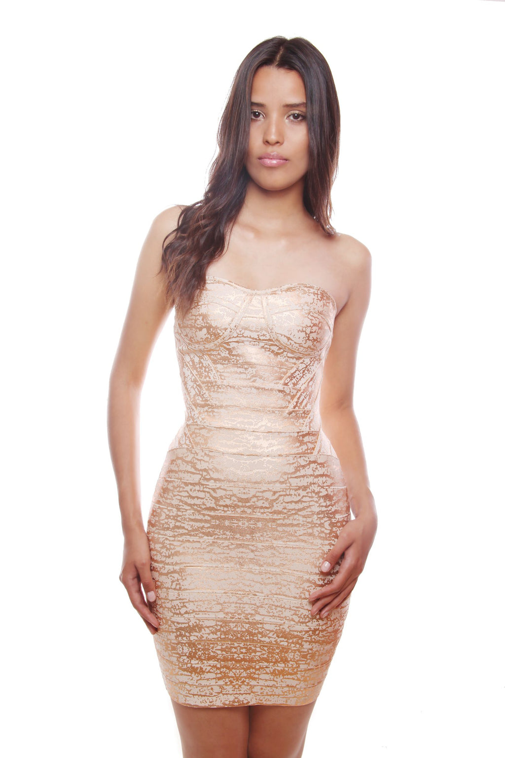 Karen Strapless Gold Foiled Bandage Dress