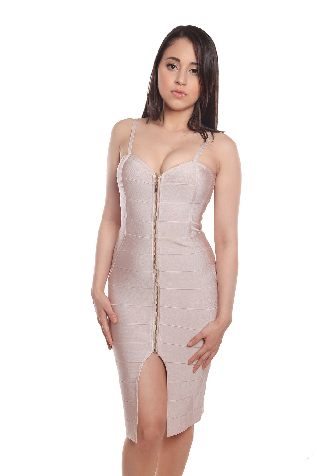 Nolvia Nude Front Zipper Bandage Dress