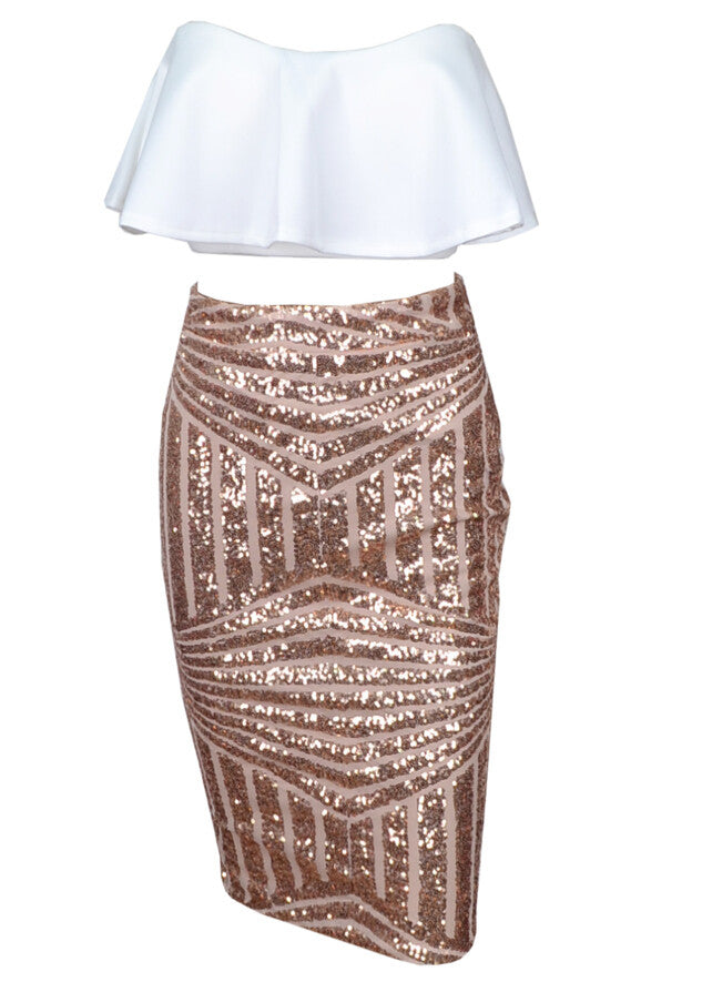 Ritta White and Gold Two Piece Sequin Set