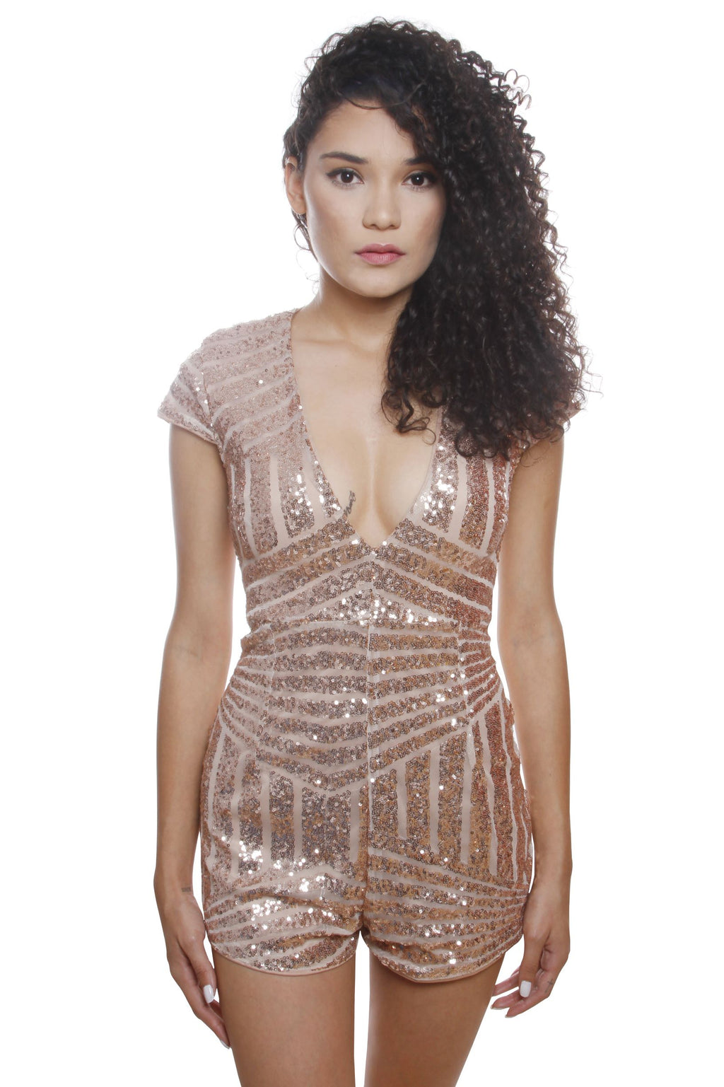 Nicole Gold Pattern Sequin Romper