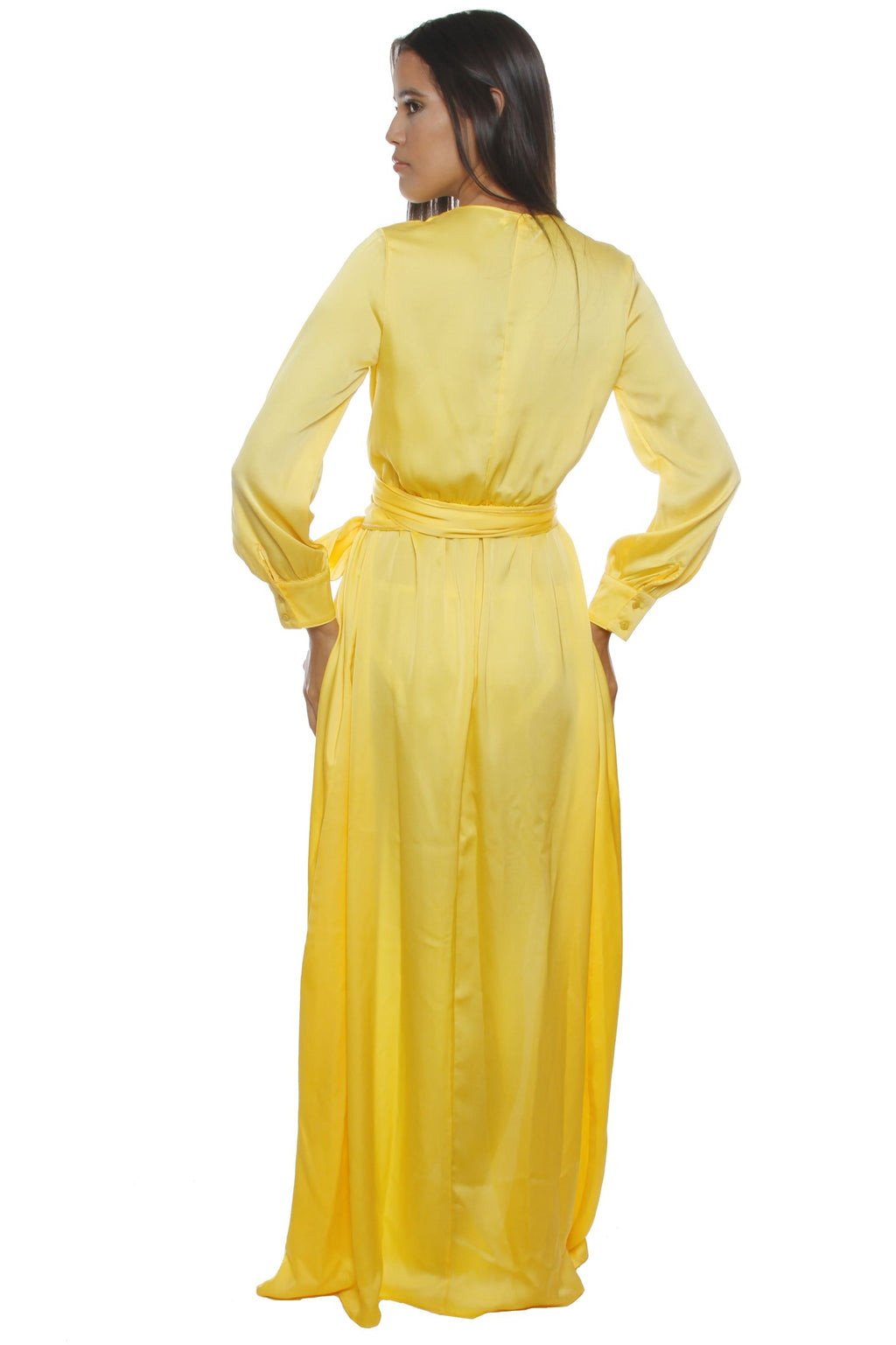 Any Yellow Satin Thigh Split Maxi Dress