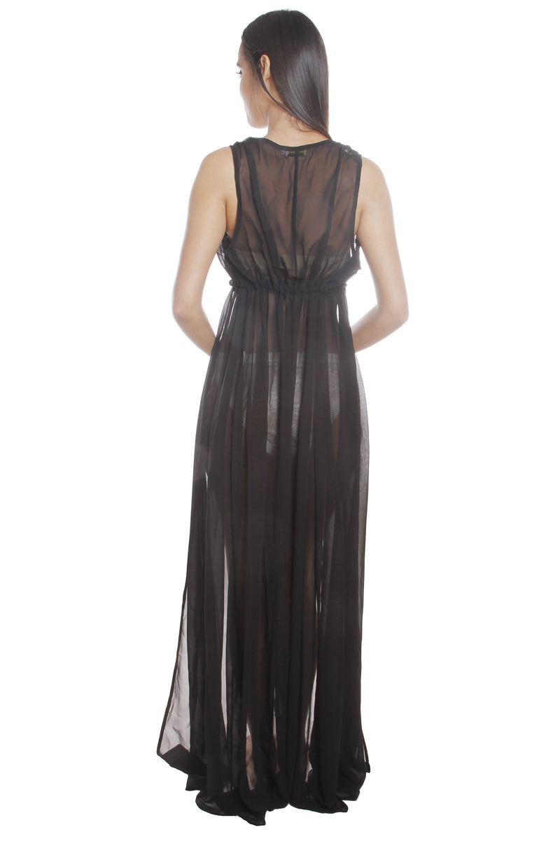 Cori Black Mesh Beach Maxi Dress