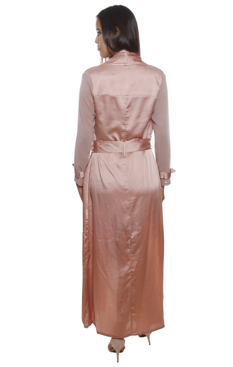 Theresa Pink Mesh Sleeve Trench Satin Coat